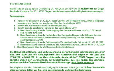 Einladung zur Mitgliederversammlung für das Geschäftsjahr 2020