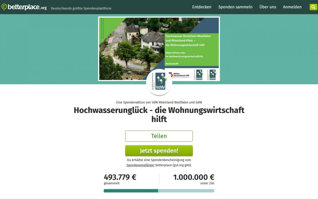 Hochwasserunglück in NRW und Rheinland-Pfalz – Spendenaktion des Verbandes der Wohnungswirtschaft